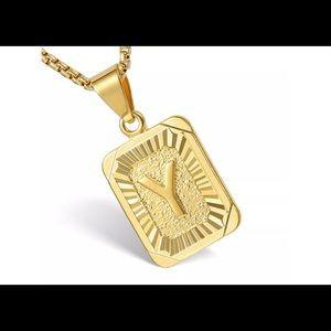 "Gold Filled Letter Y Pendant 20"" Long Necklace"